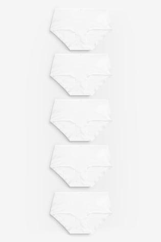 White Midi Cotton Knickers 5 Pack