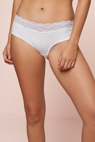 White Short Lace Trim Cotton Blend Knickers 4 Pack