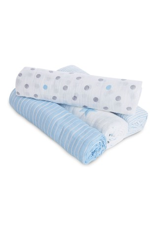 aden + anais Essentials Blue Muslin Swaddle Blanket 4 Pack