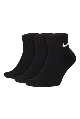 Nike Black Cushioned Ankle Mid Cut Socks Three Pack
