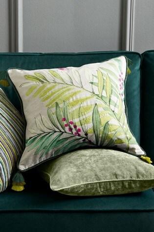 Botanical Embroidery Leaf Cushion