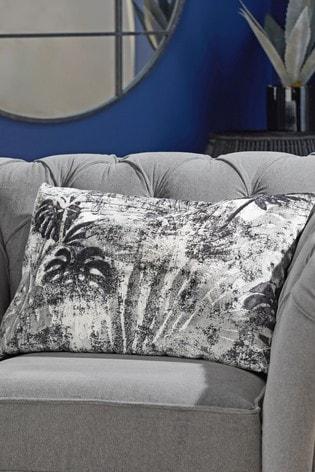 Tropical Palm Leaf Cut Velvet Cushion