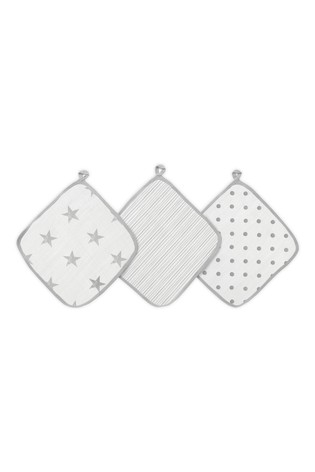 aden + anais Essentials Grey Washcloth Set Three Pack