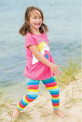 Frugi GOTS Organic Rainbow Leggings With Added Stretch