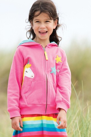 Frugi Organic Pink Hoody With Unicorn Appliqué