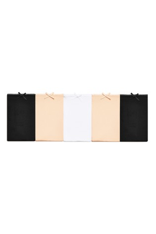 Black/White/Nude High Leg Microfibre Knickers Five Pack
