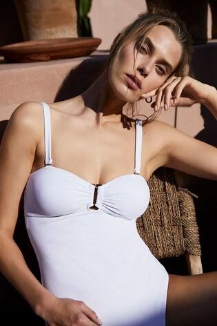 Mint Velvet Textured Bandeau Swimsuit