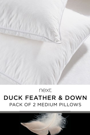 Set of 2 Duck Feather And Down Medium Pillows