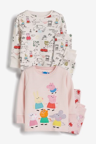 Pink/White 2 Pack Peppa Pig™ Snuggle Pyjamas (9mths-6yrs)