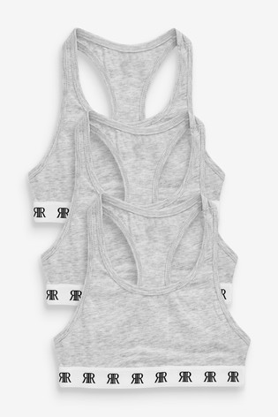River Island Grey Racer Bras Three Pack