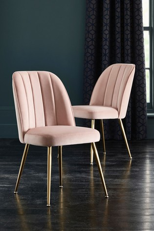 Set Of 2 Stella Dining Chairs With Gold Legs