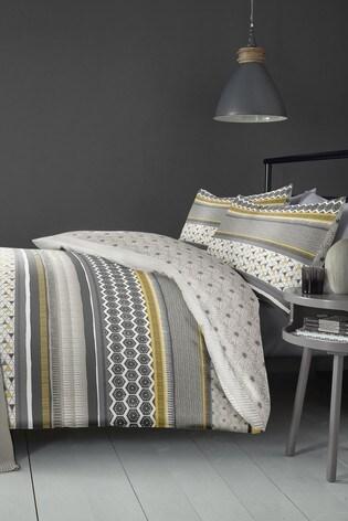 Fusion Retrace Geo Stripe Duvet Cover and Pillowcase Set