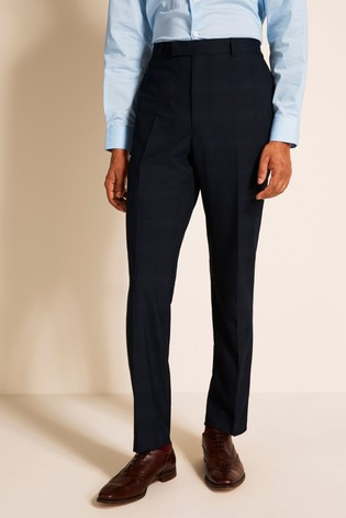 French Connection Slim Fit Navy Check Trousers