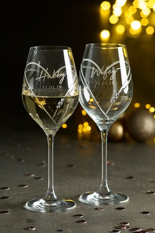 Set of 2 Personalised Diamanté Wine Glasses by Loveabode