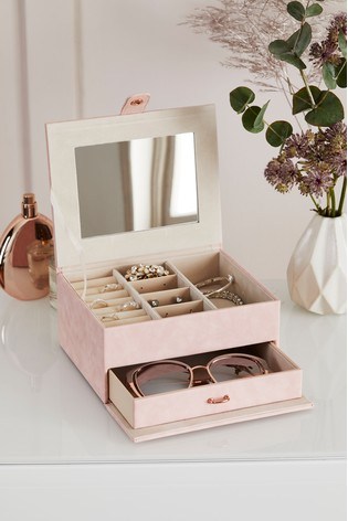 Pink Faux Leather Jewellery Box