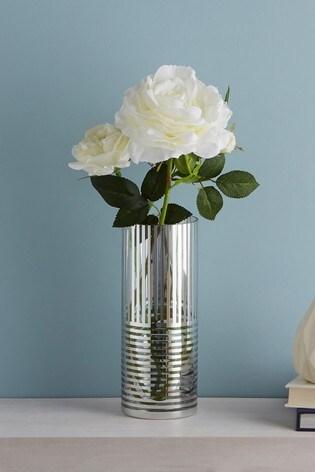 Metallic Stripe Cylinder Vase
