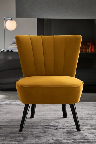 Ella Fluted Accent Chair With Black Legs