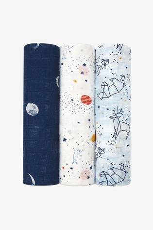 aden + anais White Silky Soft Swaddles Three Pack