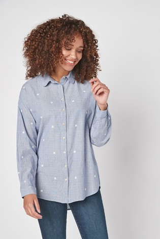 Chambray Flower Embroidery Casual Shirt