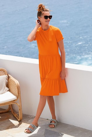 Orange Tiered Jersey Dress