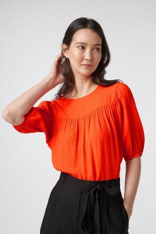 Orange Puff Sleeve Top