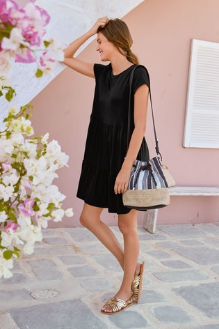 Black Tiered Jersey Dress