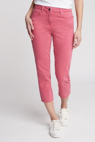 Bright Pink Cropped Straight Jeans