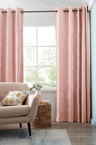 Soft Velour Pom Edge Eyelet Lined Curtains
