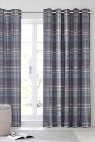 Hadley Check Eyelet Curtains