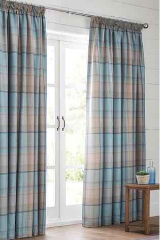 Marlow Woven Check Pencil Pleat Lined Curtains