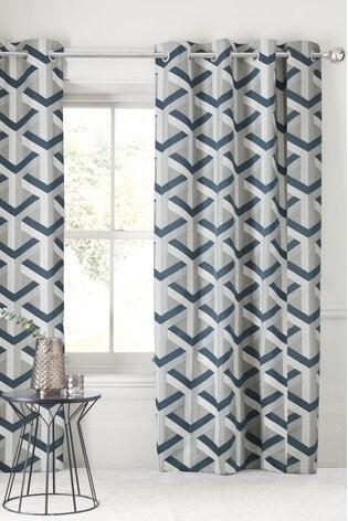 Optical Geo Jacquard Eyelet Lined Curtains