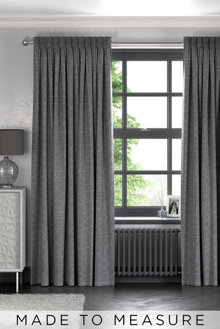 Grey Linear Geo Made To Measure Curtains