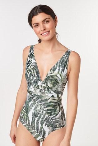 White Palm Leaf Plunge Shape Enhancing Swimsuit
