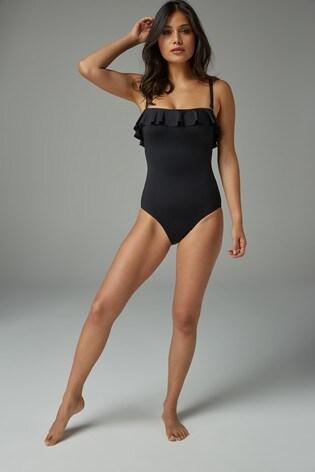 Black Ruffle Shape Enhancing Bandeau Swimsuit