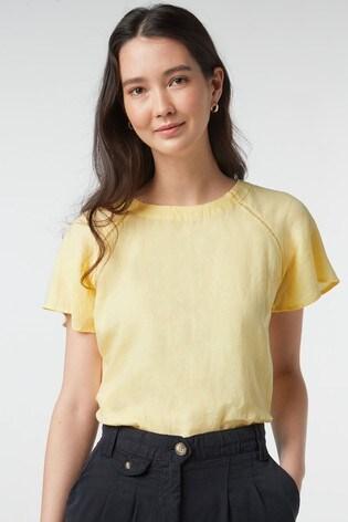 Yellow Short Sleeve Linen Top
