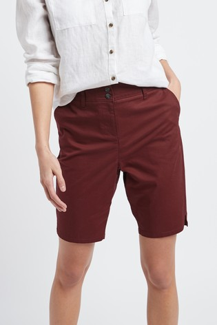 Berry Chino Knee Shorts