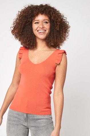 Orange V-Neck Ruffle Vest
