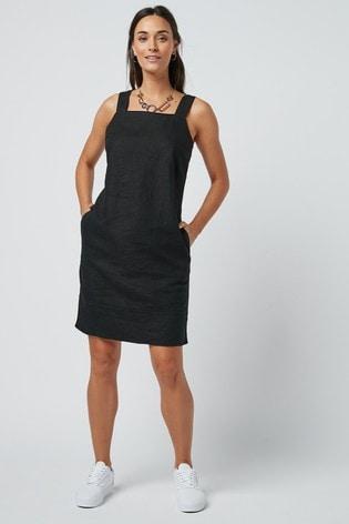 Black Linen Blend Square Neck Dress