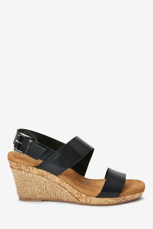 Black Forever Comfort® Cork Detail Two Band Wedges