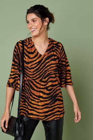 Tan Zebra Textured Top