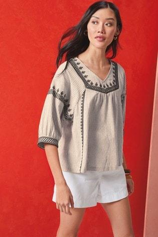 Monochrome Embroidered Stripe Blouse