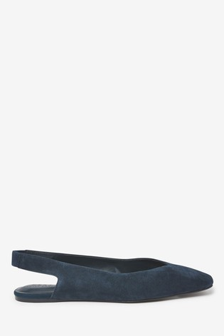 Navy Suede Leather Square Toe Slingbacks