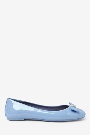 Blue Hardware Bow Ballerina Shoes