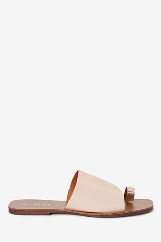 Bone/Rose Gold Regular/Wide Fit Toe Loop Mules