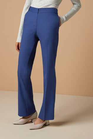 Blue Tailored Boot Cut Trousers