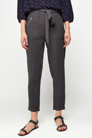 Grey Soft Cargo Trousers