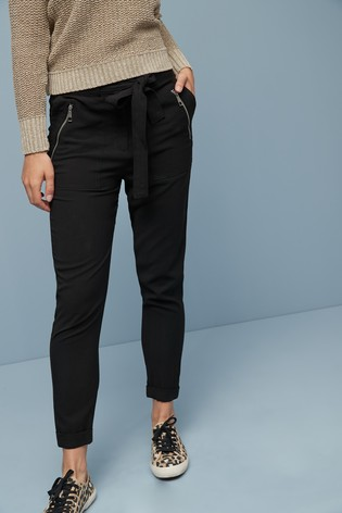 Black Soft Cargo Trousers