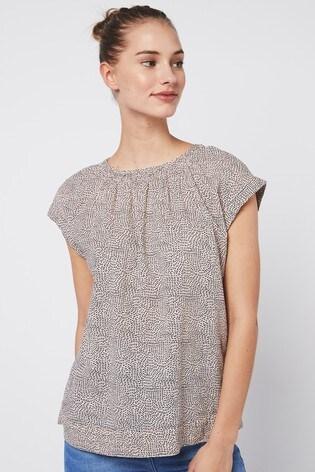 Blush Spot Cap Sleeve Textured Top