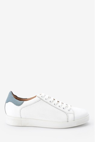 White With Blue Back Signature Leather Lace-Up Trainers