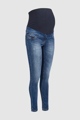 Mid Blue Maternity Skinny Jeans